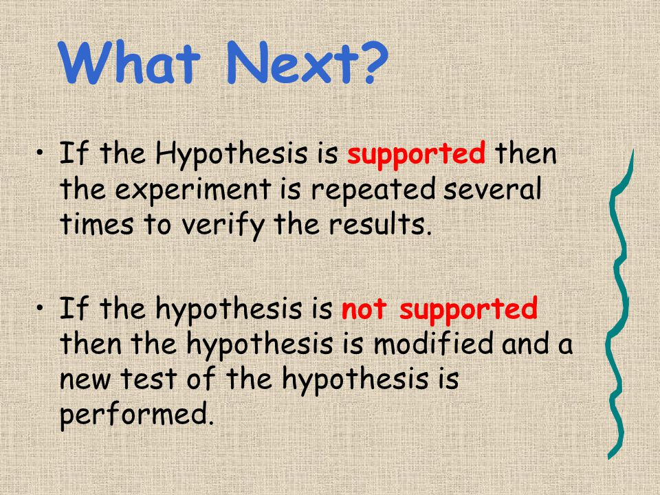 What Next If the Hypothesis is supported then the experiment is repeated several times to verify the results.