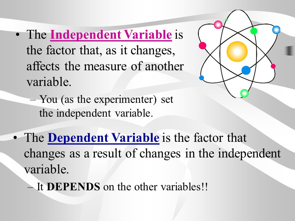 The Independent Variable is the factor that, as it changes, affects the measure of another variable.