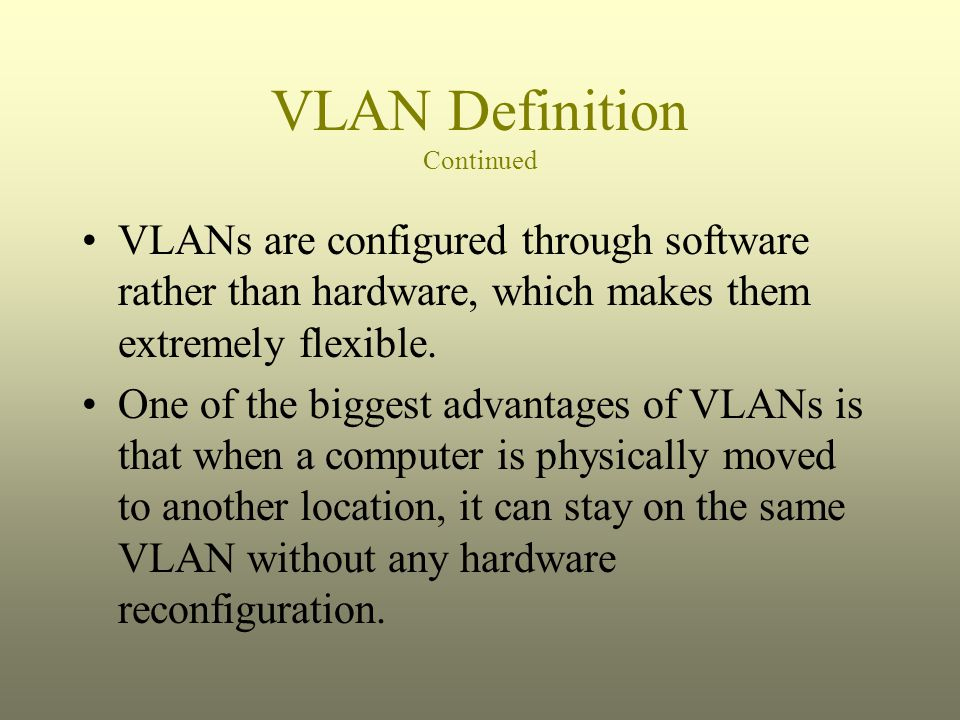 VLAN Definition Continued