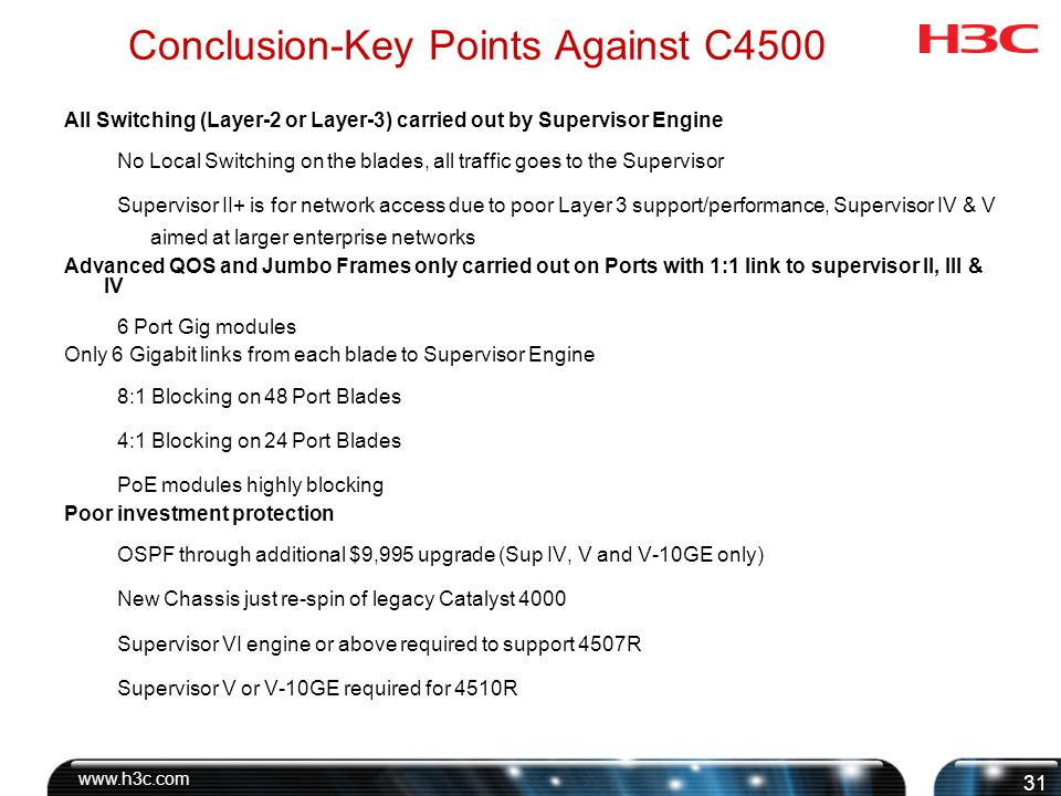Conclusion-Key Points Against C4500