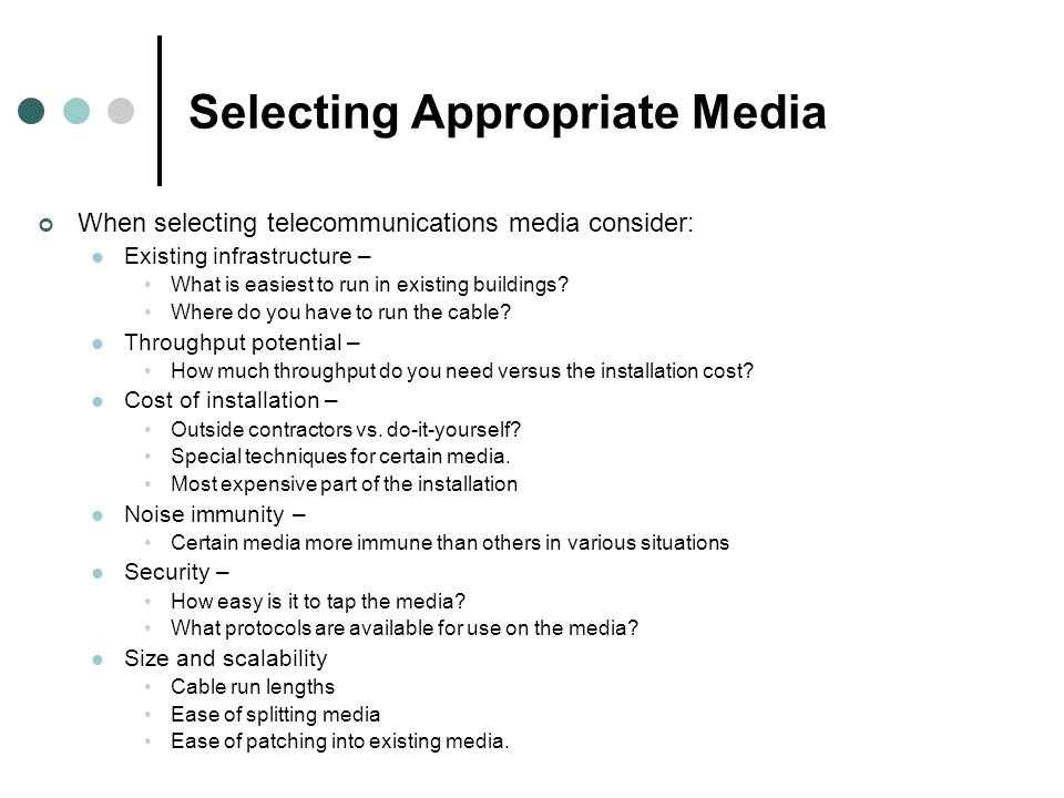 Selecting Appropriate Media