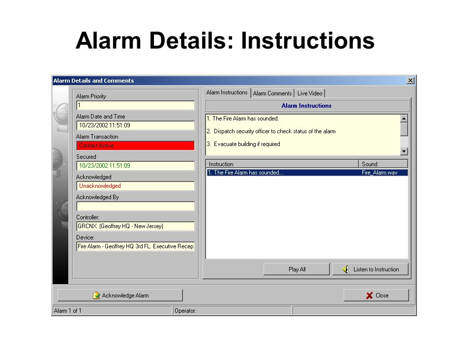 Alarm Details: Instructions
