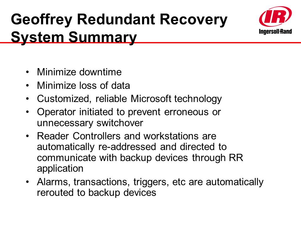 Geoffrey Redundant Recovery System Summary