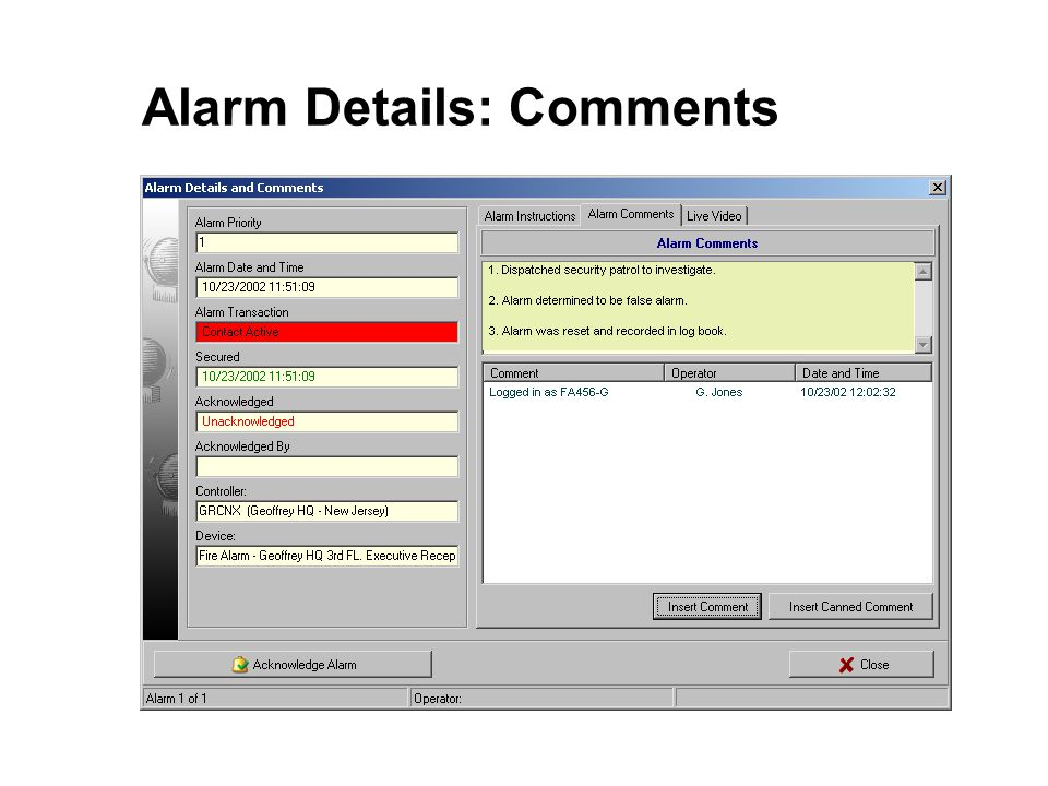 Alarm Details: Comments