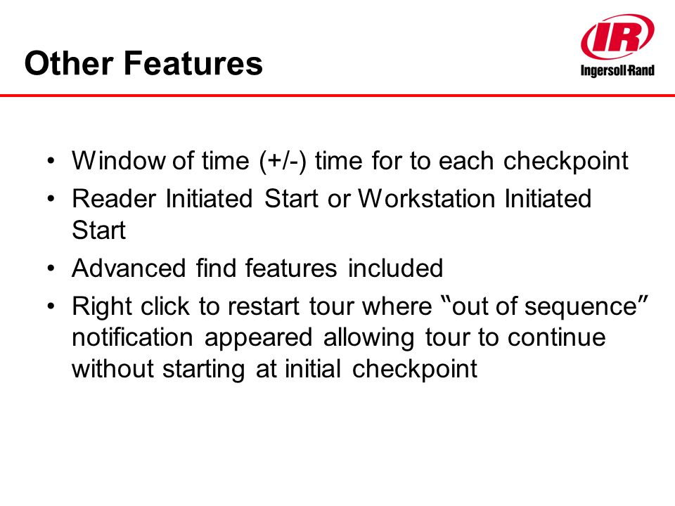 Other Features Window of time (+/-) time for to each checkpoint
