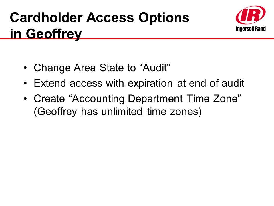 Cardholder Access Options in Geoffrey