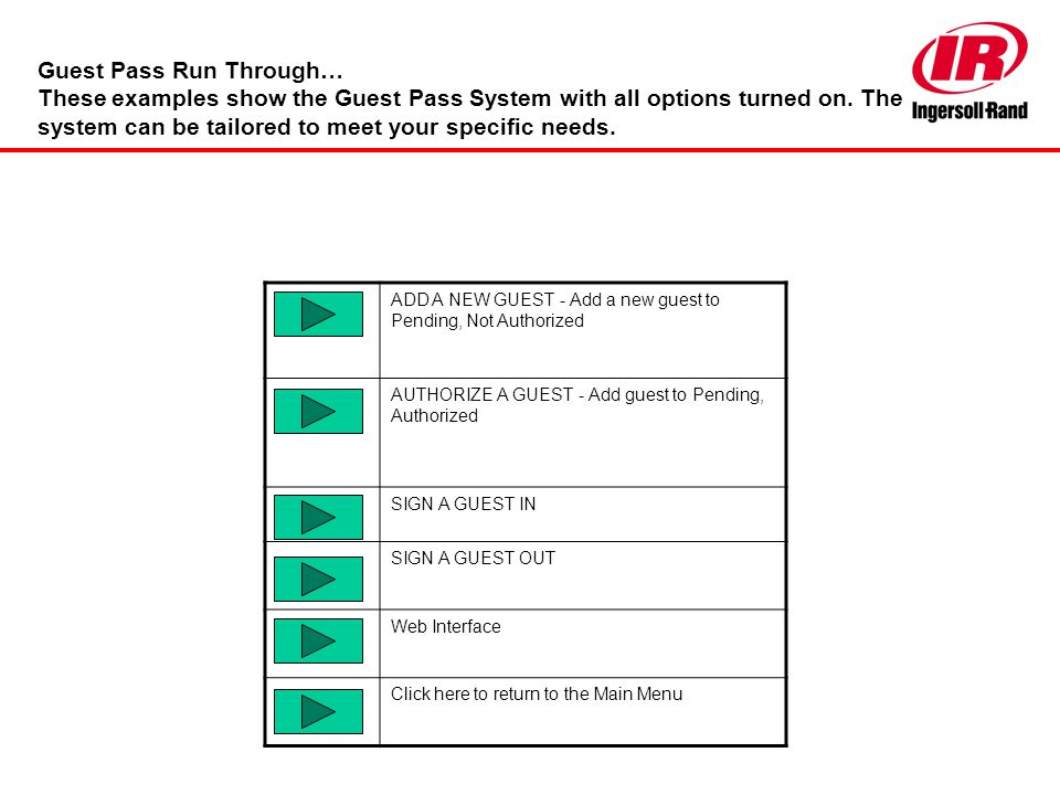 Guest Pass Run Through… These examples show the Guest Pass System with all options turned on. The system can be tailored to meet your specific needs.