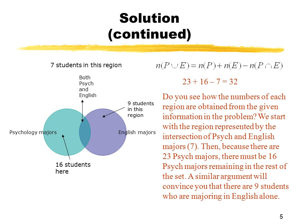 Solution (continued) 23 + 16 – 7 = 32