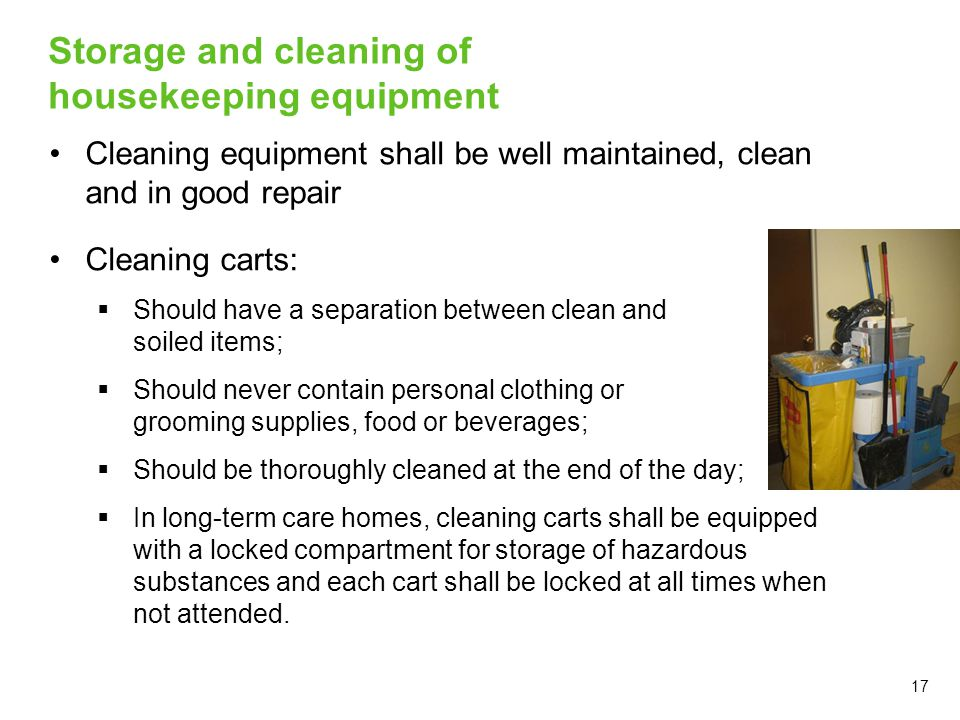 Storage and cleaning of housekeeping equipment