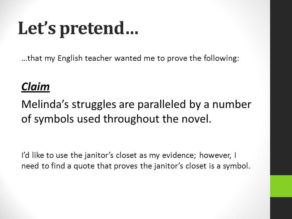 Let's pretend… …that my English teacher wanted me to prove the following: Claim.