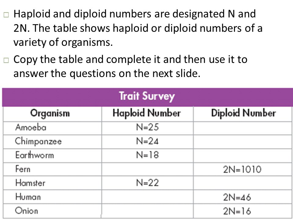 Haploid and diploid numbers are designated N and 2N