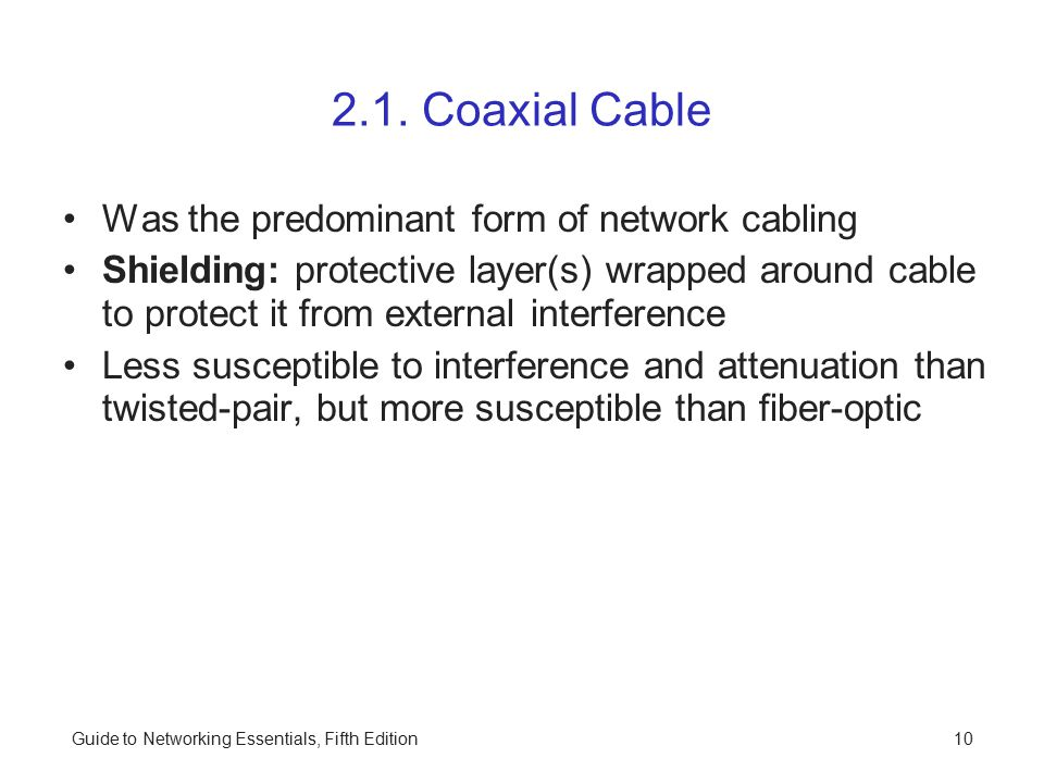 2.1. Coaxial Cable Was the predominant form of network cabling