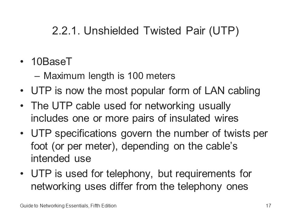 2.2.1. Unshielded Twisted Pair (UTP)