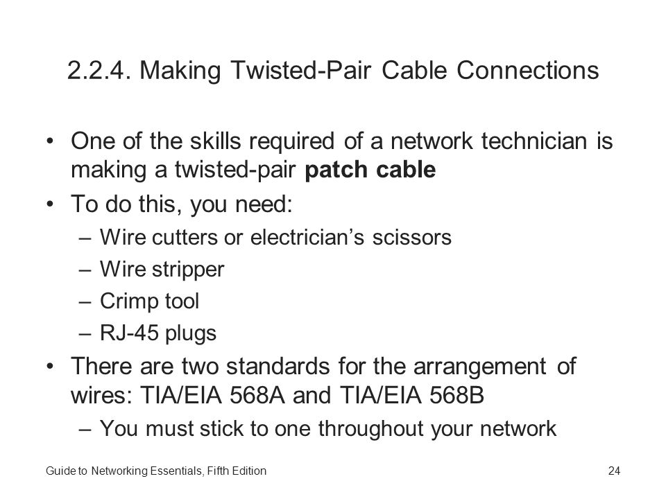 2.2.4. Making Twisted-Pair Cable Connections