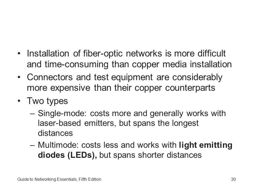 Installation of fiber-optic networks is more difficult and time-consuming than copper media installation