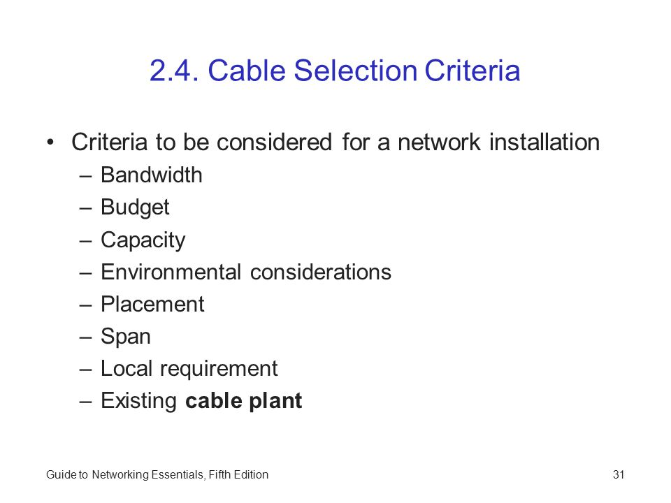 2.4. Cable Selection Criteria