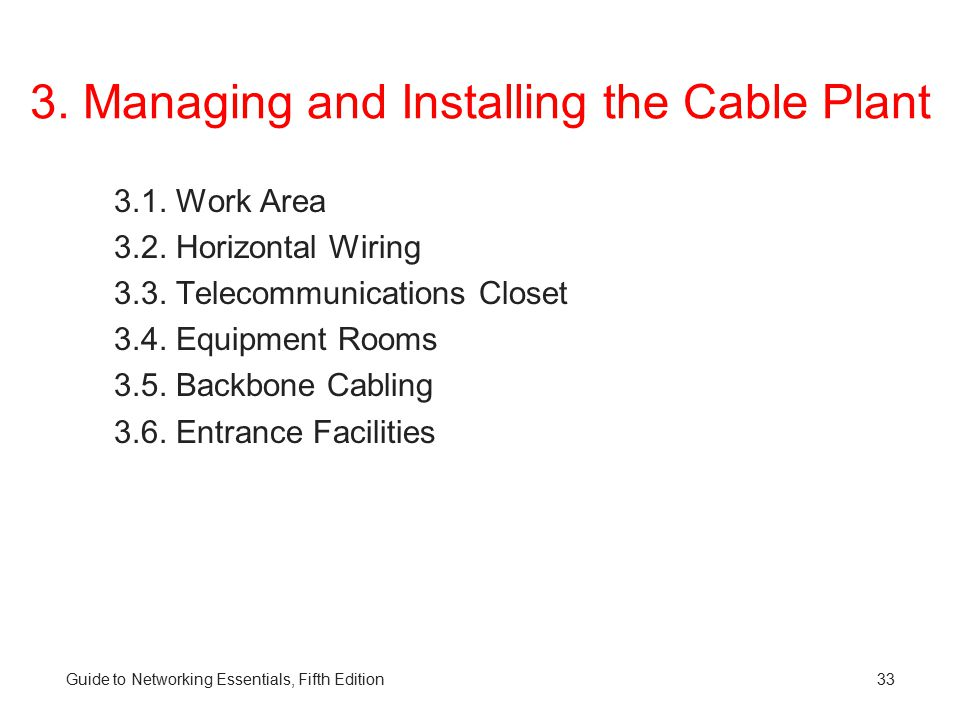 3. Managing and Installing the Cable Plant