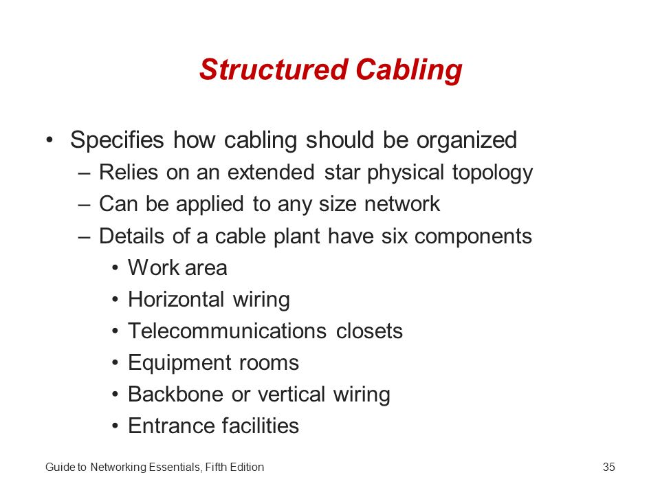 Structured Cabling Specifies how cabling should be organized