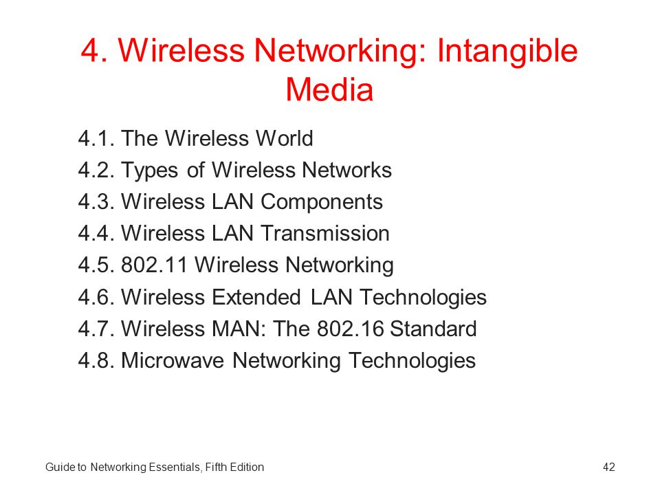 4. Wireless Networking: Intangible Media