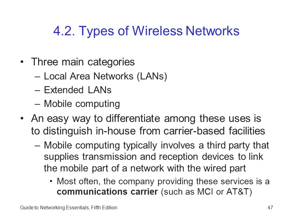 4.2. Types of Wireless Networks