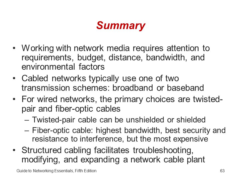 Summary Working with network media requires attention to requirements, budget, distance, bandwidth, and environmental factors.