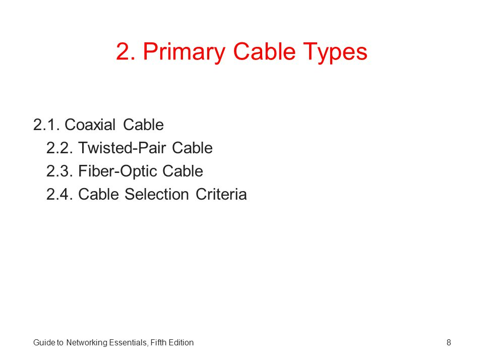 2. Primary Cable Types 2.1. Coaxial Cable 2.2. Twisted-Pair Cable