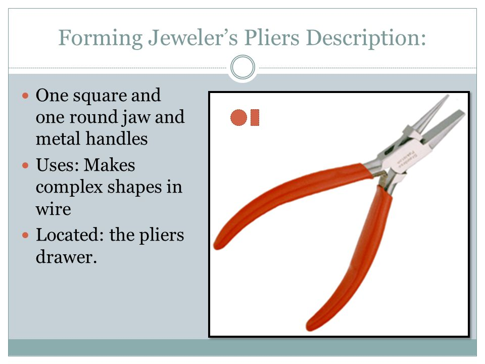 Forming Jeweler's Pliers Description: