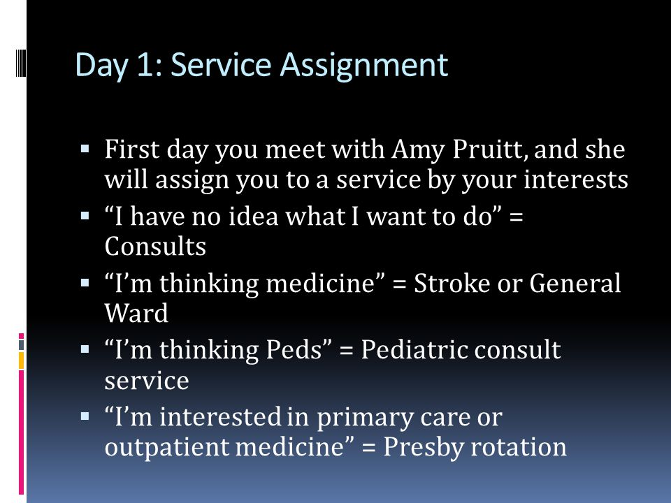 Day 1: Service Assignment