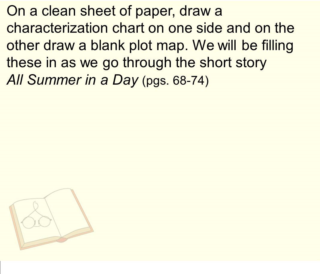 On a clean sheet of paper, draw a characterization chart on one side and on the other draw a blank plot map.