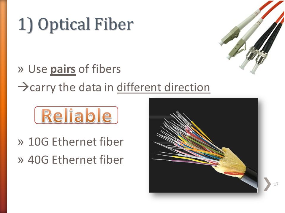 Reliable 1) Optical Fiber Use pairs of fibers