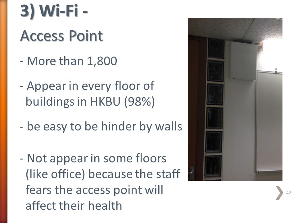 3) Wi-Fi - Access Point - More than 1,800