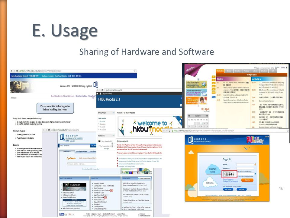 Sharing of Hardware and Software