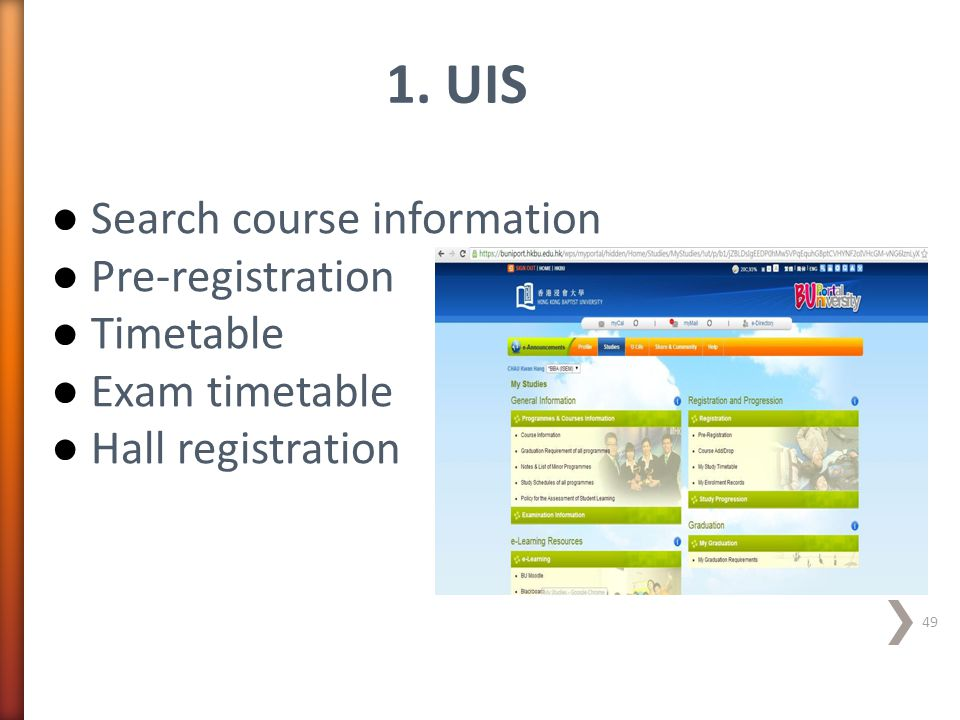 1. UIS Search course information Pre-registration Timetable