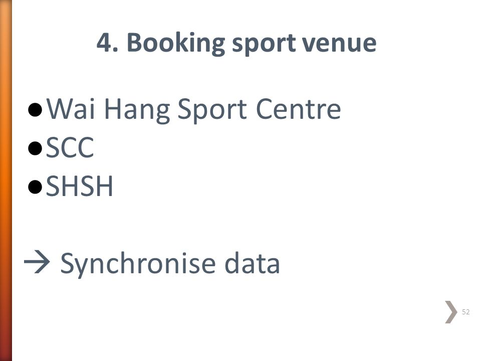Wai Hang Sport Centre SCC SHSH  Synchronise data