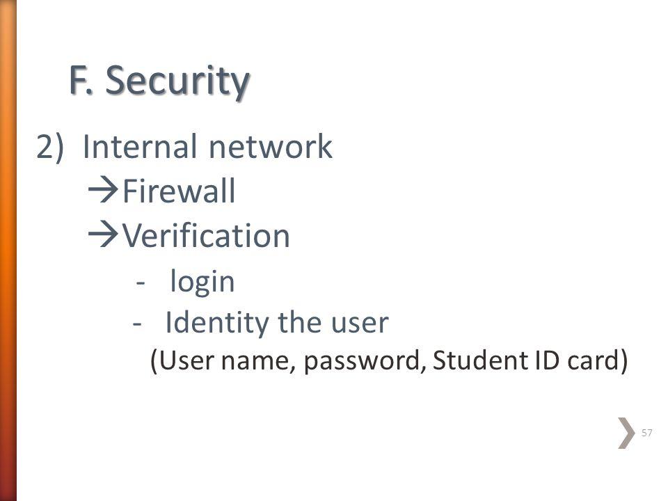 F. Security 2) Internal network Firewall Verification - login