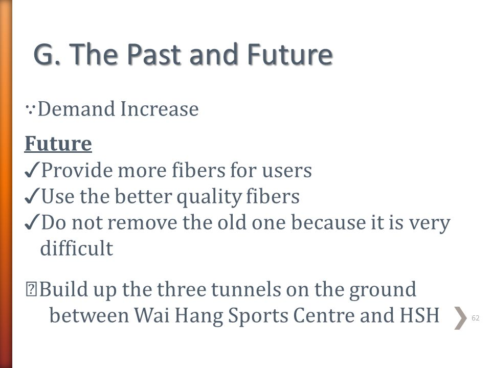 G. The Past and Future ∵Demand Increase Future