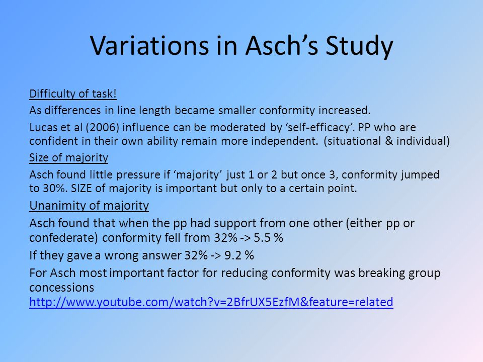 Variations in Asch's Study