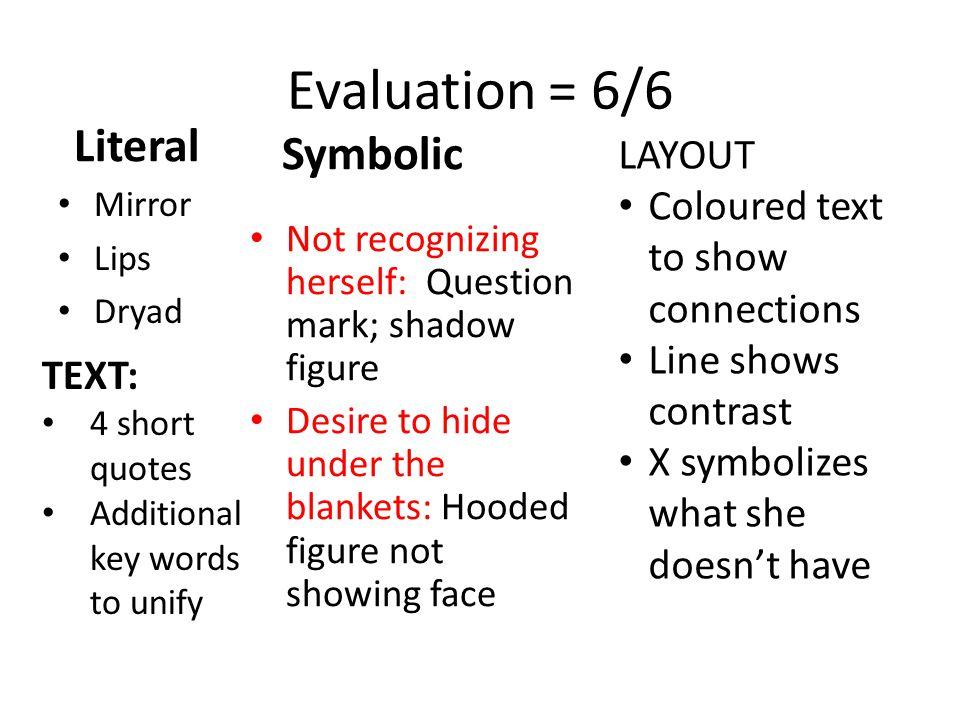 Evaluation = 6/6 Literal Symbolic LAYOUT