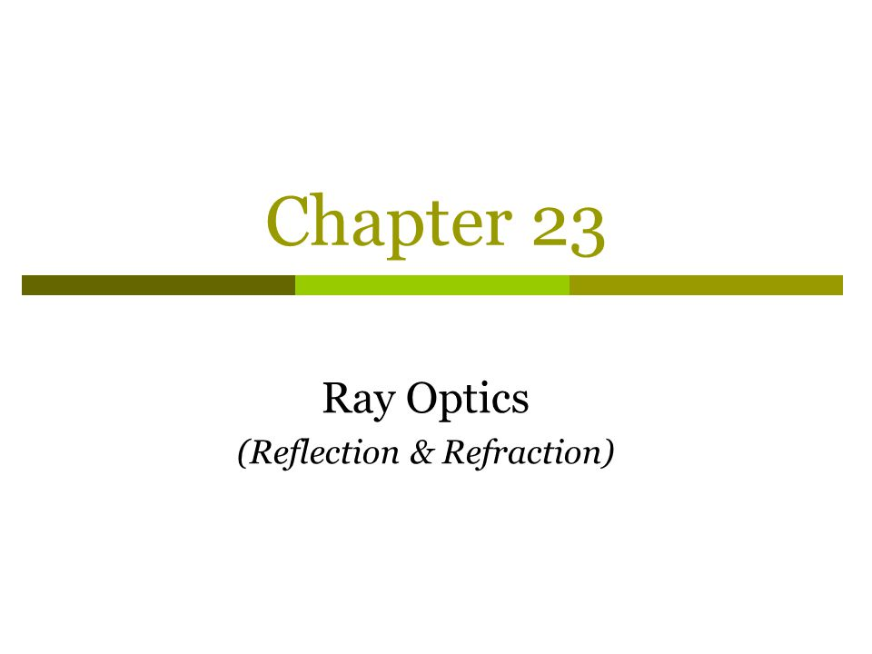 Ray Optics (Reflection & Refraction)