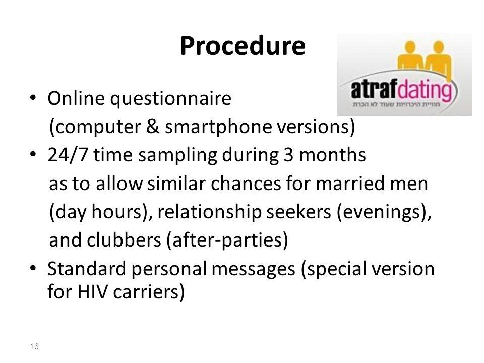 Procedure Online questionnaire (computer & smartphone versions)