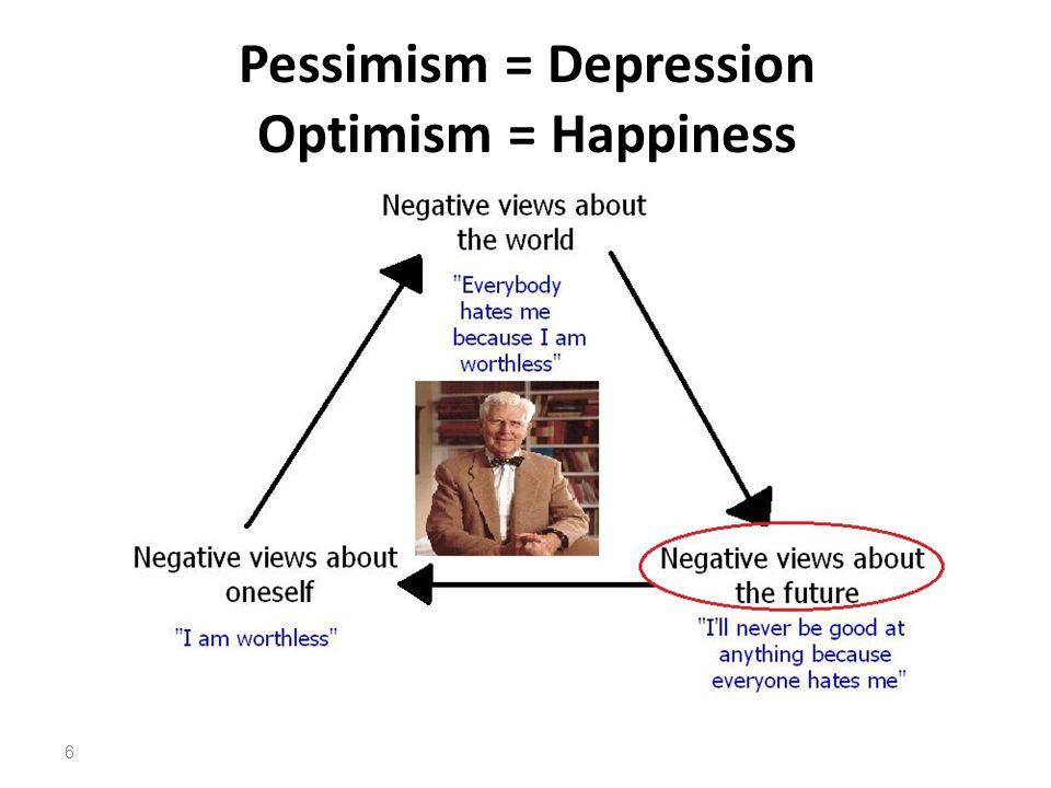 Pessimism = Depression Optimism = Happiness