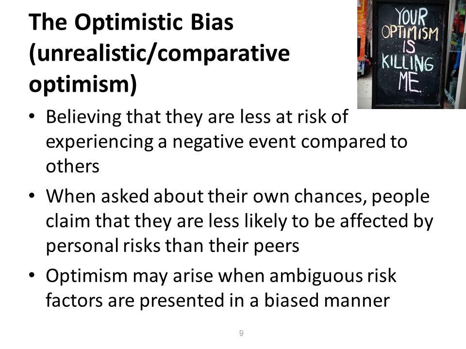 The Optimistic Bias (unrealistic/comparative optimism)