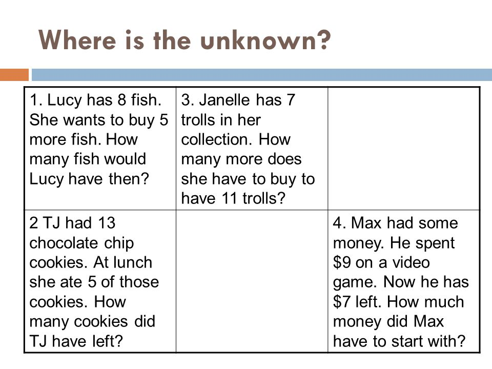 Where is the unknown 1. Lucy has 8 fish. She wants to buy 5 more fish. How many fish would Lucy have then