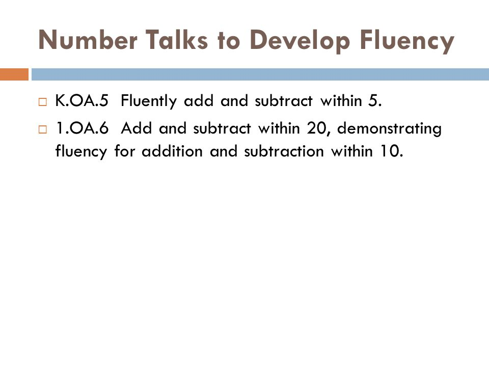 Number Talks to Develop Fluency