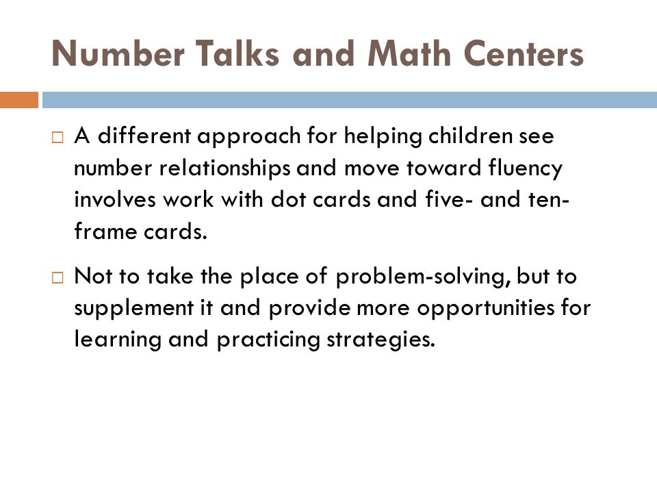 Number Talks and Math Centers