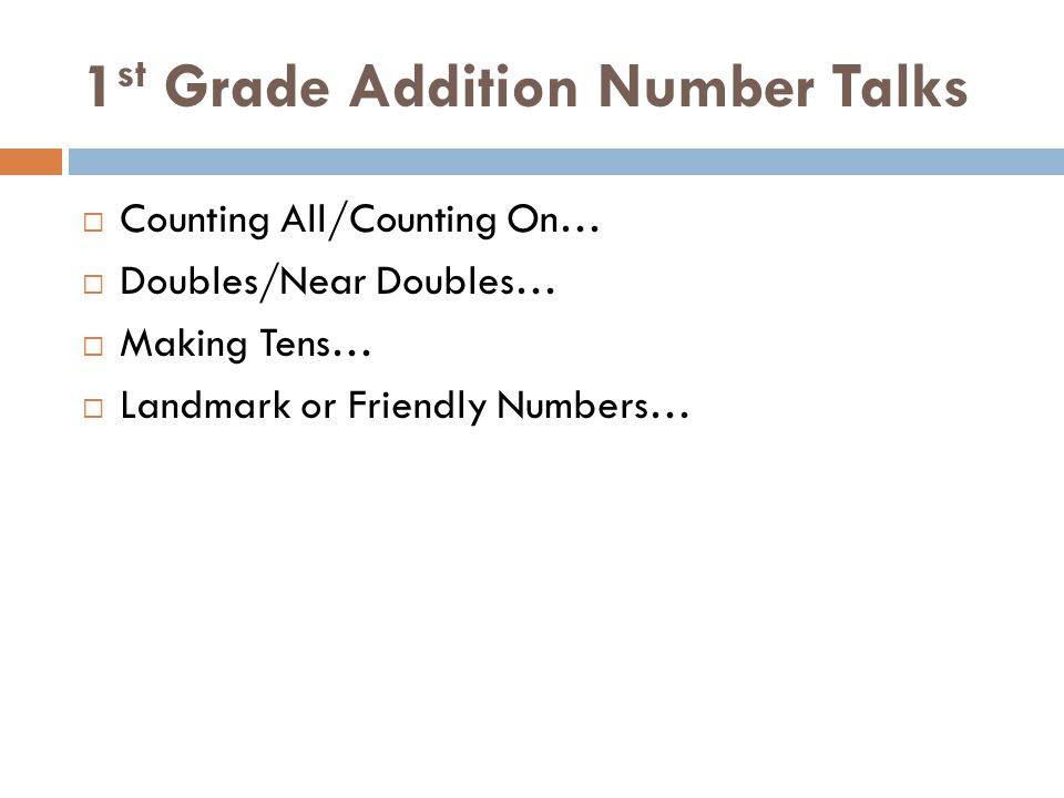 1st Grade Addition Number Talks