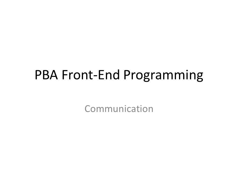 PBA Front-End Programming