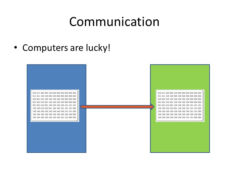 Communication Computers are lucky!