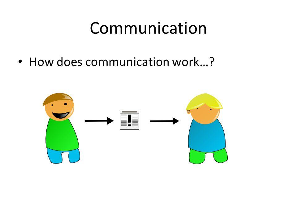 Communication How does communication work…