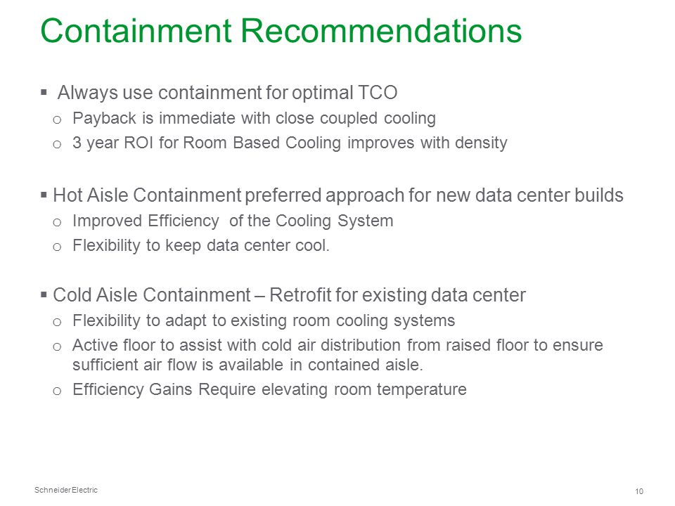 Containment Recommendations